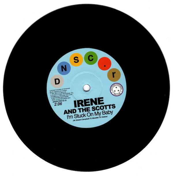 """Irene And The Scotts - I'm Stuck On My Baby / The Chantels - Indian Giver 45 (Deptford Northern Soul Club) 7"""" Vinyl"""
