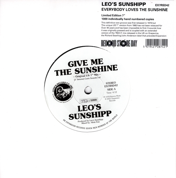 "Leo's Sunshipp - Everybody Loves The Sunshine (Original US 7"" Mix) / (Extended UK 7"" Grapevine Red 3 Mix) 45 (Expansion) 7"" Vinyl"
