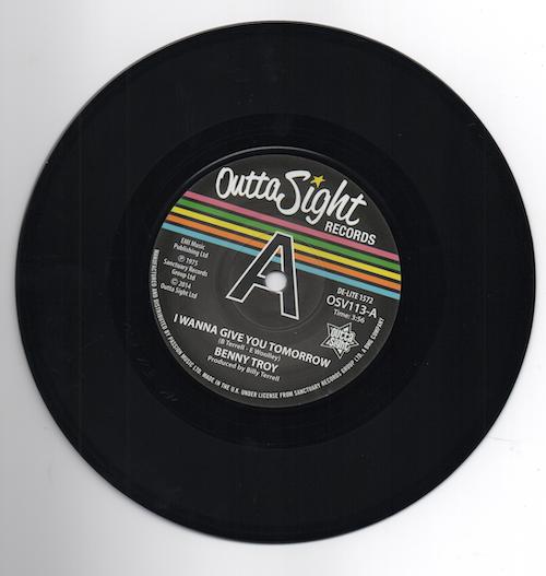 "Benny Troy - I Wanna Give You Tomorrow / (Disco Version) DEMO 45 (Outta Sight) 7"" Vinyl"