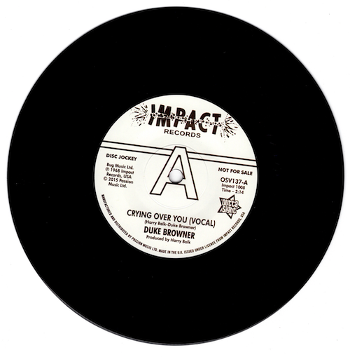 """Duke Browner - Crying Over You / (Instrumental) DEMO 45 (Outta Sight) 7"""" Vinyl"""