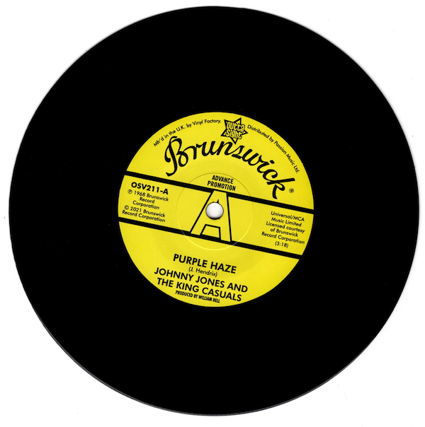 """Johnny Jones & The King Casuals - Purple Haze / Gene Chandler - There Was A Time DEMO 45 (Outta Sight) 7"""" Vinyl"""