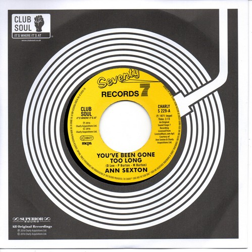 """Ann Sexton - You've Been Gone Too Long / I Still Love You 45 (Charly) 7"""" Vinyl"""