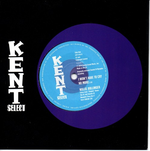 "Willie Bollinger - I Won't Have To Cry No More / Willie Walker - Run Around 45 (Kent) 7"" Vinyl"