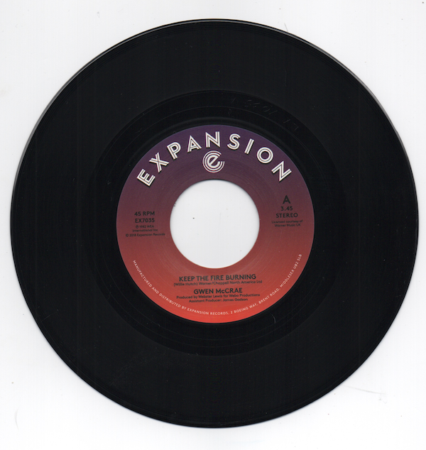 "Gwen McCrae - Keep The Fire Burning / Funky Sensation 45 (Expansion) 7"" Vinyl"