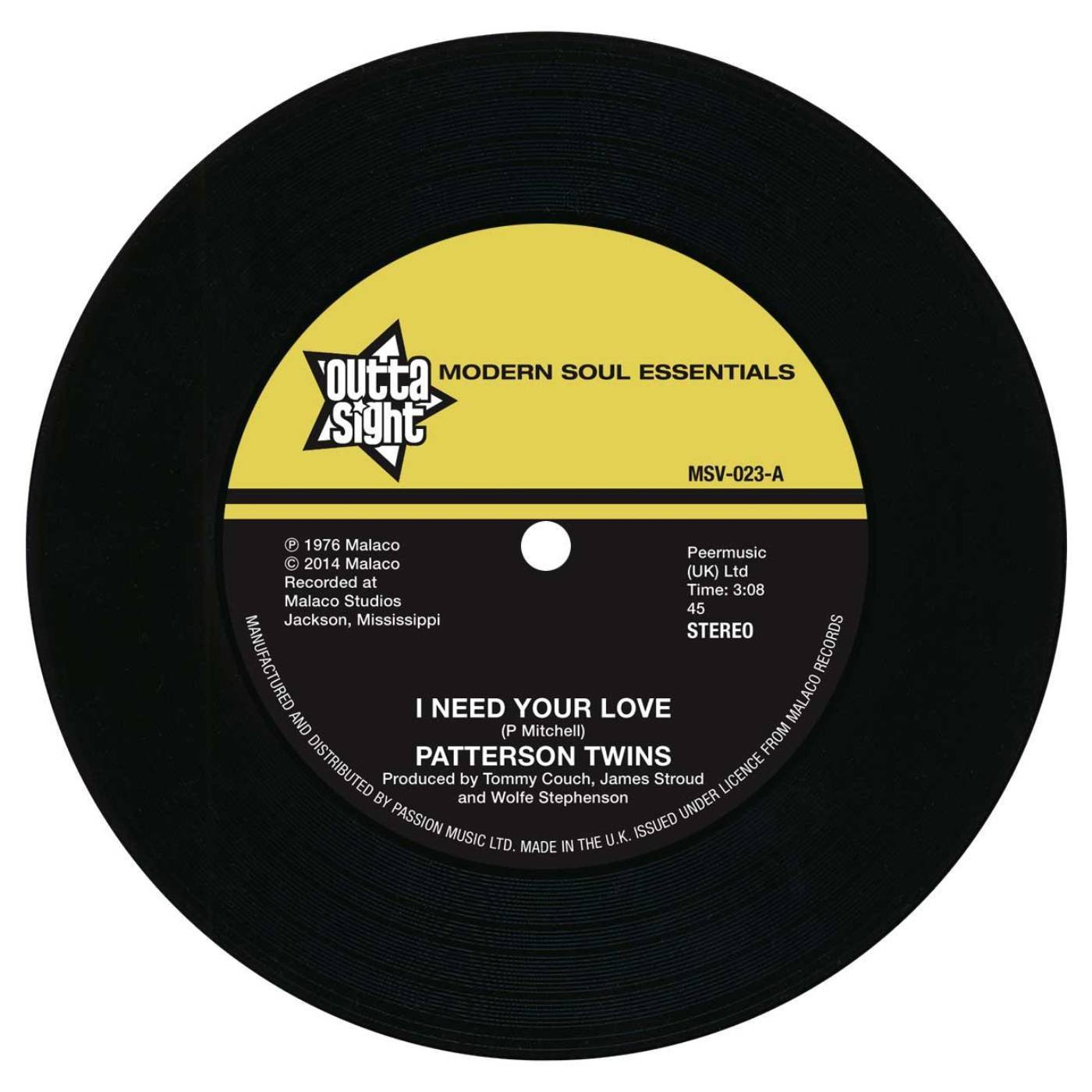 Patterson Twins – I Need Your Love / Richard Caiton – I'm Gonna Love You More 45 (Outta Sight) 7″ Vinyl