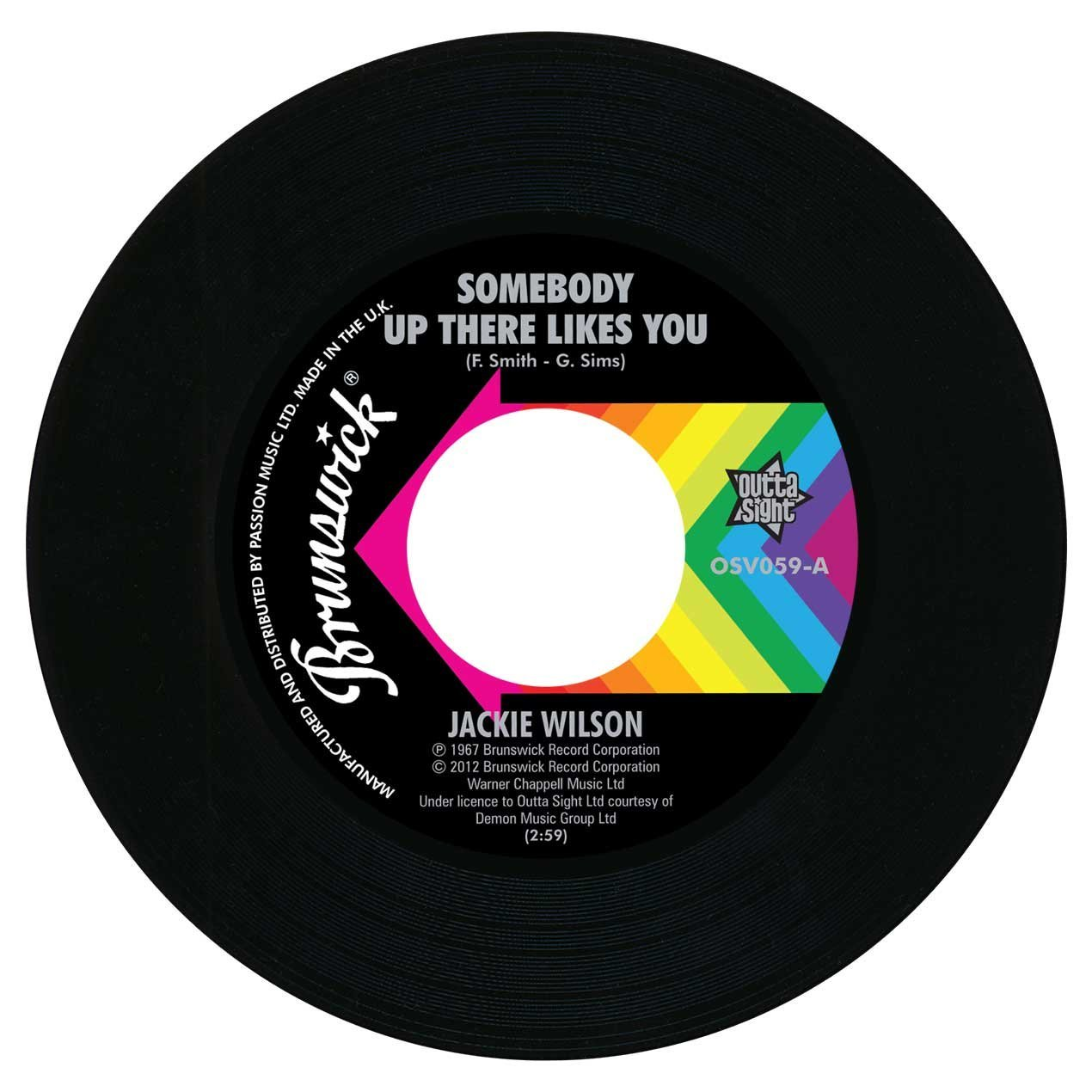 Jackie Wilson – Somebody Up There Likes You / A Lovely Way To Die 45 (Outta Sight) 7″ Vinyl
