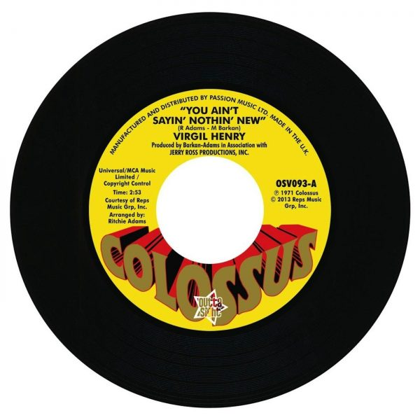 Virgil Henry - You Ain't Sayin' Nothin' New / Italian Asphalt & Pavement Co -Check Yourself 7""