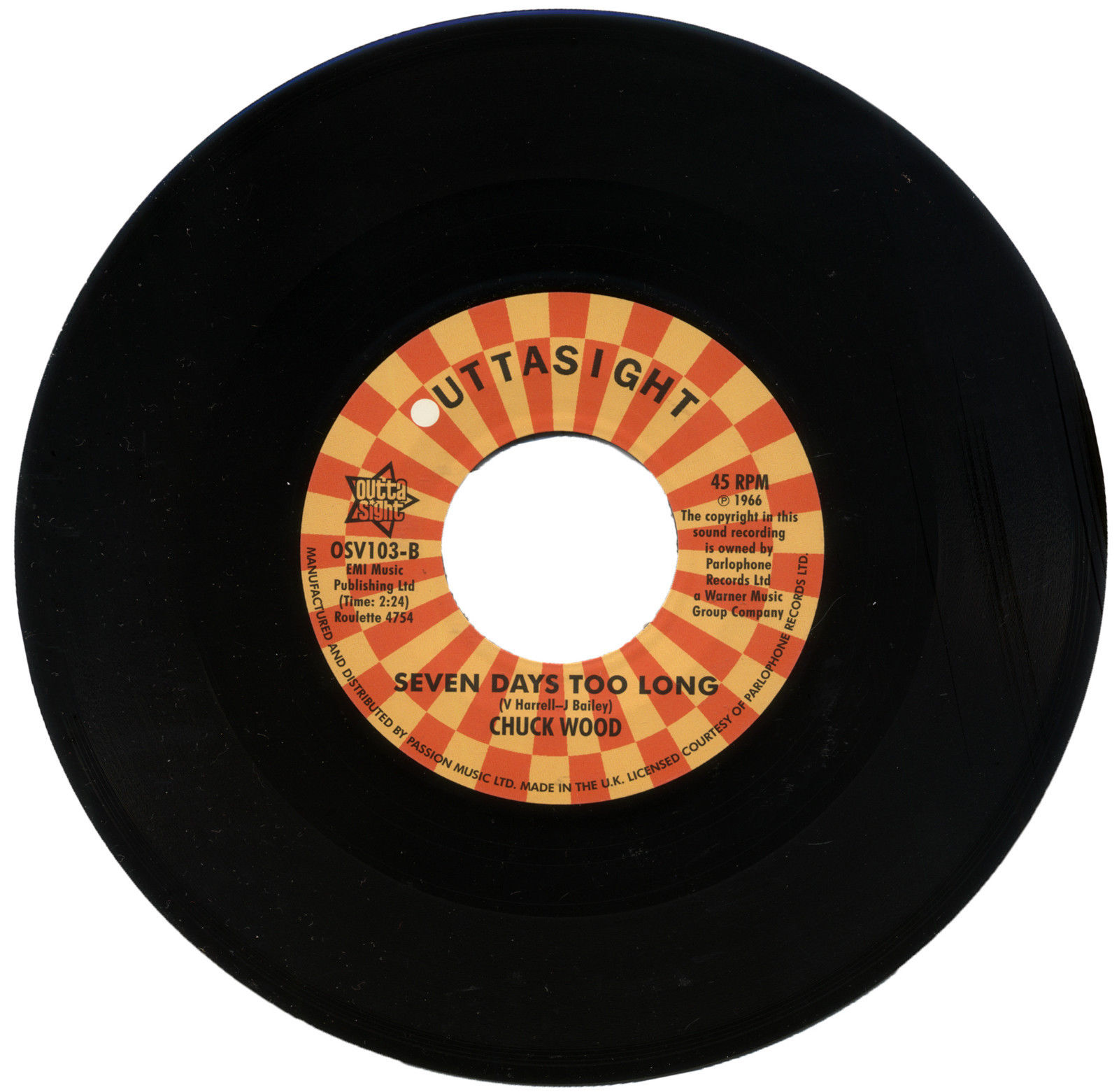 Casualeers – Dance Dance Dance / Chuck Wood – Seven Days Too Long 45 (Outta Sight) 7″ Vinyl