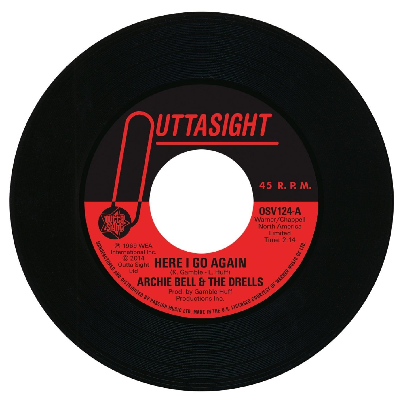 Archie Bell & The Drells – Here I Go Again / Tighten Up 45 (Outta Sight) 7″ Vinyl