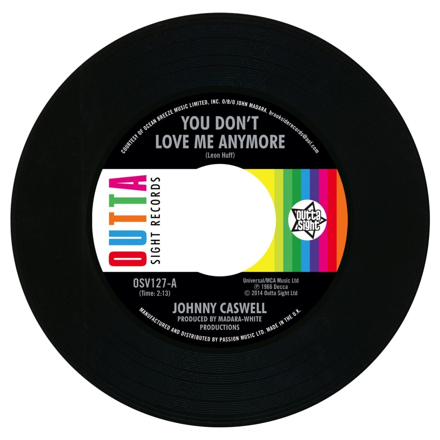 Johnny Caswell – You Don't Love Me Anymore / I.O.U 45 (Outta Sight) 7″ Vinyl
