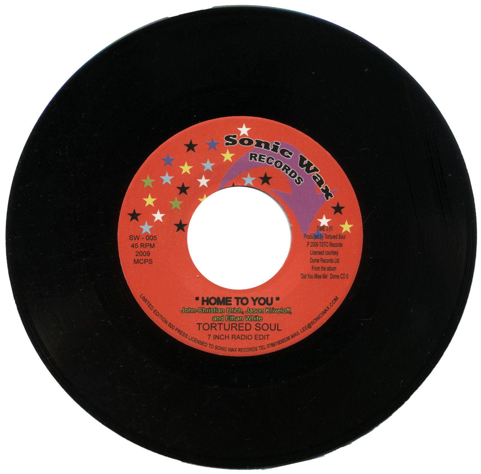 Tortured Soul – Home To You 45 (Sonic Wax) 7″ Vinyl