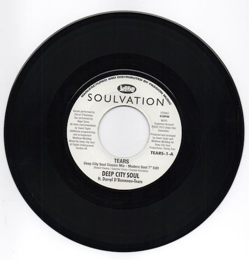 "Deep City Soul Feat Darryl D'Bonneau - Tears (Deep City Soul Classic Mix – Modern Soul 7"" Edit) / (Inst) 45 (Inferno) 7"" Vinyl"